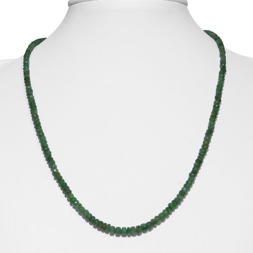 Kagem Zambian Emerald (Rnd) Necklace (Size 18 with Half inch Extender) in Rhodium Plated Sterling Silver 38.000 Ct.