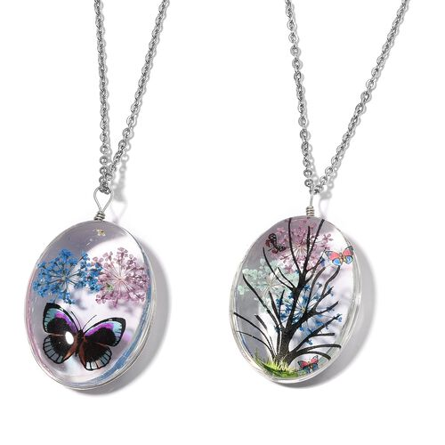 New Concept- Set of 2- Diaroma Pendant With Chain (Size 24) with Tree and Butterfly Theme in Silver Bond