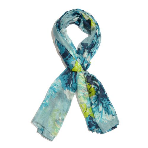 100% Mulberry Silk Turquoise, Green and Multi Colour Handscreen Floral Printed Scarf (Size 200X180 C