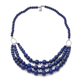 GP - Lapis Lazuli, Blue Sapphire Necklace (Size 23) with Star Charm in Rhodium Overlay Sterling Silv
