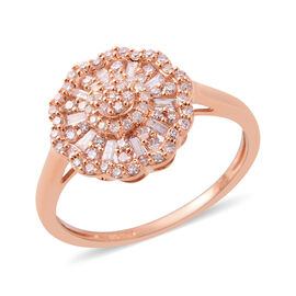 9K Rose Gold Natural Pink Diamond (Rnd and Bgt), Diamond Ring 0.50 Ct.