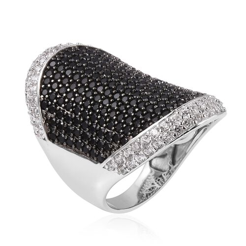 Boi Ploi Black Spinel (Rnd), Natural Cambodian White Zircon Ring in Rhodium Overlay with Black Plating Sterling Silver 4.750 Ct, Silver wt 6.50 Gms.