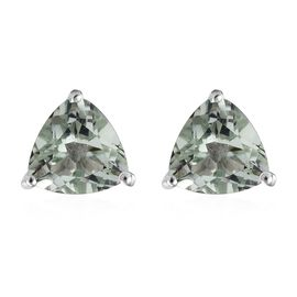 3 Carat Prasiolite Solitaire Stud Earrings in Platinum Plated Sterling Silver