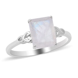 Rainbow Moonstone Solitaire Ring in Sterling Silver 2.75 ct.