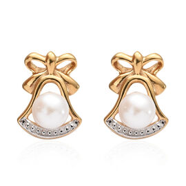 Fresh Water Pearl (Rnd) Stud Earrings (with Push Back) in 14K Gold Overlay Sterling Silver