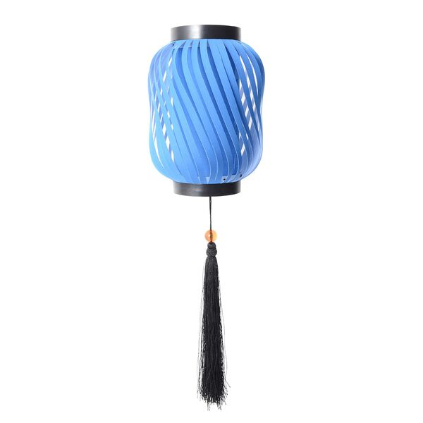 Blue with Black Fringer DIY Lampshade Size 12.3x28 Cm