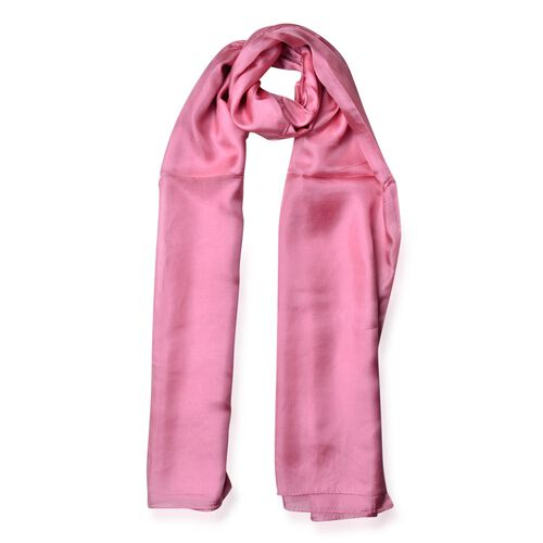100% Mulberry Silk Dusty Pink Colour Scarf (Size 180x110 Cm)