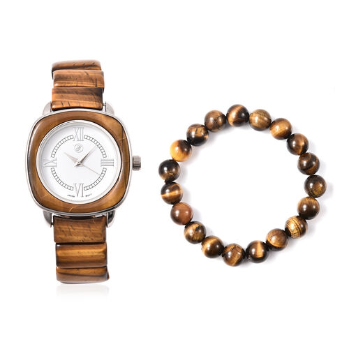2 Piece Set - GENOA Japanese Movement Yellow Tiger Eye Water Resistant Watch in Stainless Steel and
