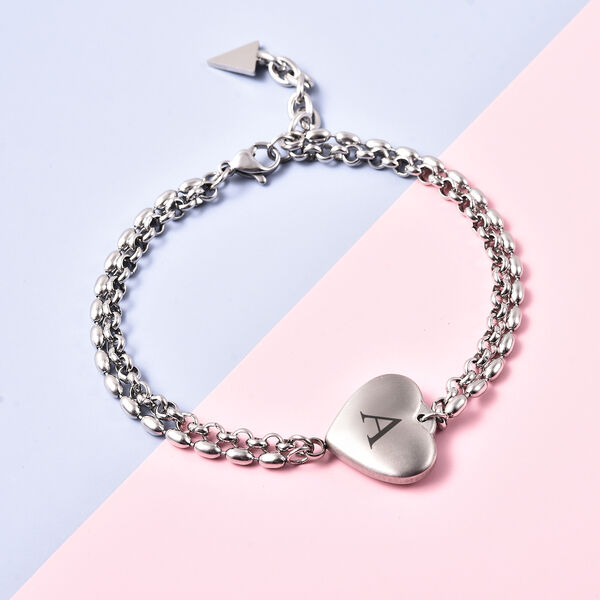 Personalise Engravable Initial Heart Steel Bracelet, Size 7.5+1 Inch, Stainless Steel