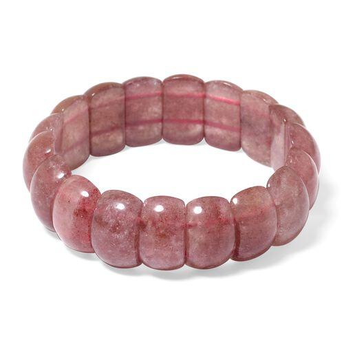 Brazilian Natural Pink Lepidocrocite Natural Quartz (Cush) Stretchable Bracelet (Size 7) 250.000 Ct.