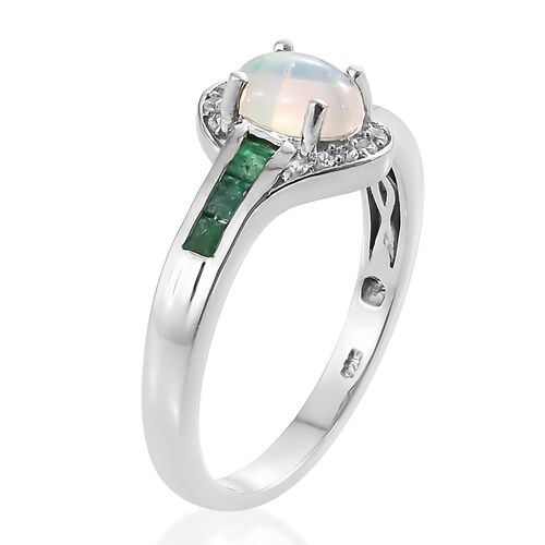 Ethiopian Welo Opal (Ovl), Kagem Zambian Emerald and Natural Cambodian Zircon Ring in Platinum Overlay Sterling Silver 1.250 Ct.