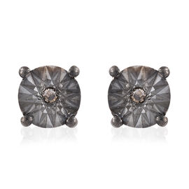 Natural Champagne Diamond (Rnd) Stud Earrings (with Push Back) in Platinum and Black Overlay Sterlin
