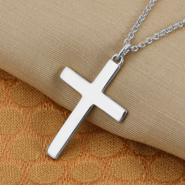 SPECIAL ORDER - Platinum Overlay Sterling Silver Cross Pendant