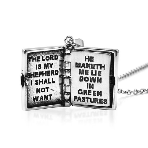 Miniature Holy Bible Pendant with Chain (Size 20) in Stainless Steel