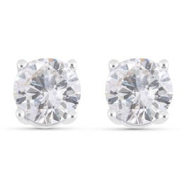 NY Close Out- 14K White Gold Diamond (I1-I2/ G-H) Stud Earrings (with Screw Back) 1.00 Ct.