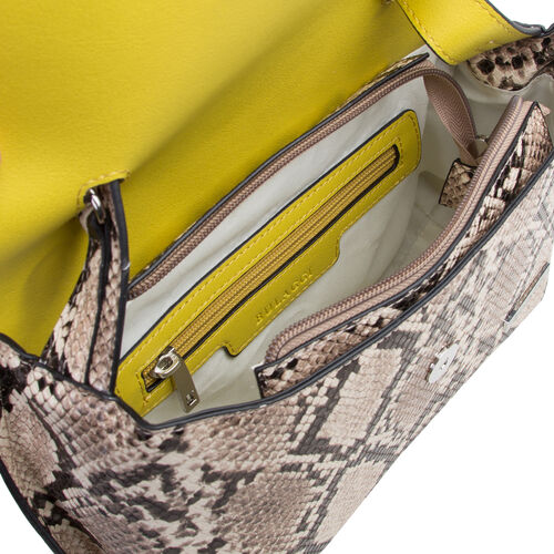 Bulaggi Collection - MONA Flap Handbag in Snake Print (24x09x20cm) - Lime