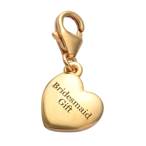 14K Gold Overlay Sterling Silver Bridesmaid Gift Heart Charm