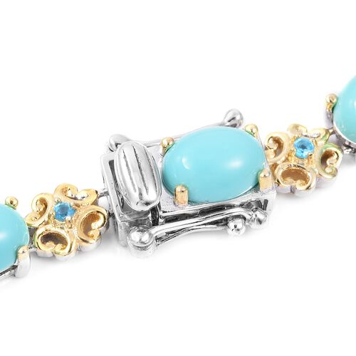 One Time Deal-Arizona Sleeping Beauty Turquoise (Ovl), Malgache Neon Apatite Bracelet (Size 8.25) in Gold Overlay Sterling Silver 14.58 Ct,