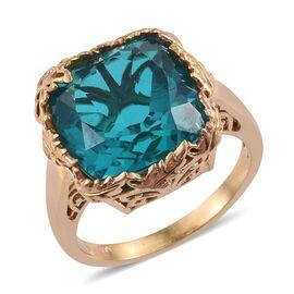 Capri Blue Quartz (Cush) Ring in 14K Gold Overlay Sterling Silver 12.000 Ct.