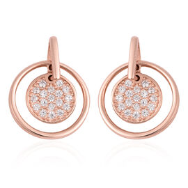 ELANZA Simulated Diamond (Rnd) Drop Earrings (with Push Back) in Rose Gold Overlay Sterling Silver