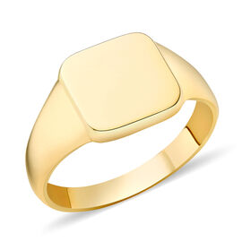 9K Yellow Gold Sqaure Signet Ring, Gold Wt. 3.10 Gms