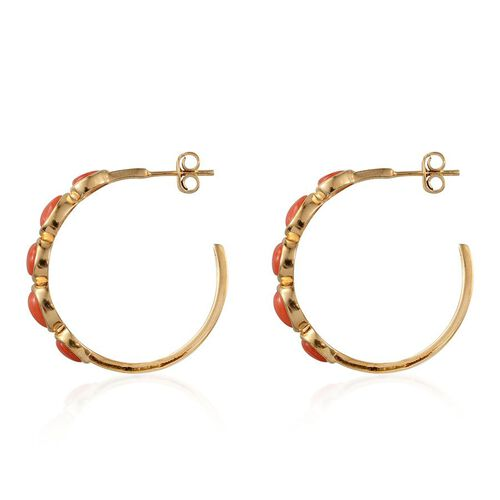 Mediterranean Coral (3.00 Ct) 14K Gold Overlay Sterling Silver Earring  3.000  Ct.