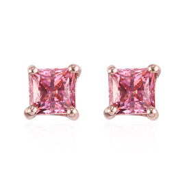 J Francis Rose Gold Overlay Sterling Silver Stud Earrings (with Push Back) Made with Pink SWAROVSKI