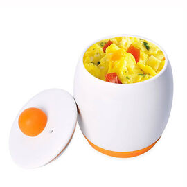 Egg-Tastic Ceramic Microwave Egg Cooker with Silicone Bottom and Top Lid (Size 8x12 Cm) - White and