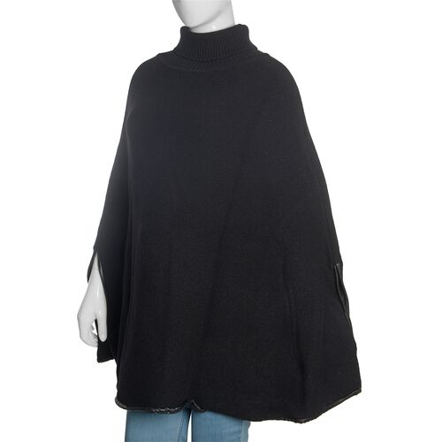 Designer Inspired - 100% Wool Black Colour Knitted Cape Jacket (Free Size)