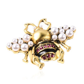 Fuchsia Colour Austrian Crystal and Simulated Pearl Adjustable Enamelled Bee Ring in Yellow Gold Ton