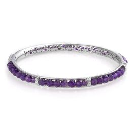 One Time Deal- Amethyst Bangle (Size 7.5) in Platinum Plated 21.00 Ct.