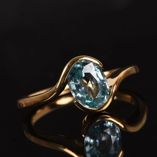 AA Ratanakiri Blue Zircon Solitaire Ring in 14K Gold Overlay Sterling Silver 1.60 Ct.