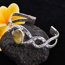 Hand Made -  Amber Cuff Bangle (Size 7.5) in Sterling Silver 5.84 Ct, Silver wt. 35.00 Gms