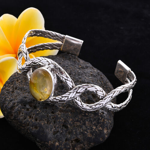 Royal Bali Collection Amber Cuff Bangle (Size 7.5) in Sterling Silver 5.84 Ct, Silver wt. 35.00 Gms