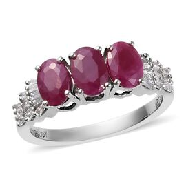 RHAPSODY 1.65 Ct AAAA Burmese Ruby and Diamond Trilogy Ring in 950 Platinum 4.52 Grams VS EF
