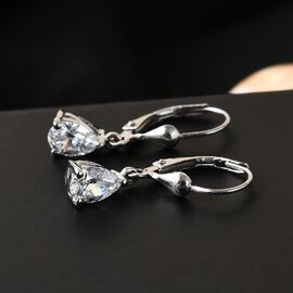 J Francis Platinum Overlay Sterling Silver Lever Back Drop Earrings Made with SWAROVSKI ZIRCONIA 2.23 CT.