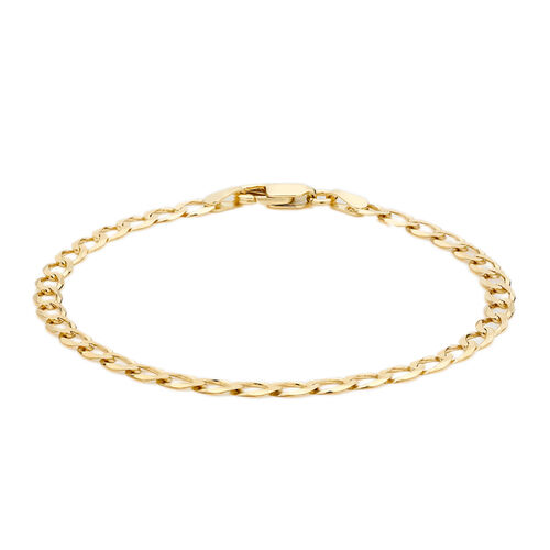 9K Yellow Gold Diamond Cut Flat Curb Bracelet (Size 7)