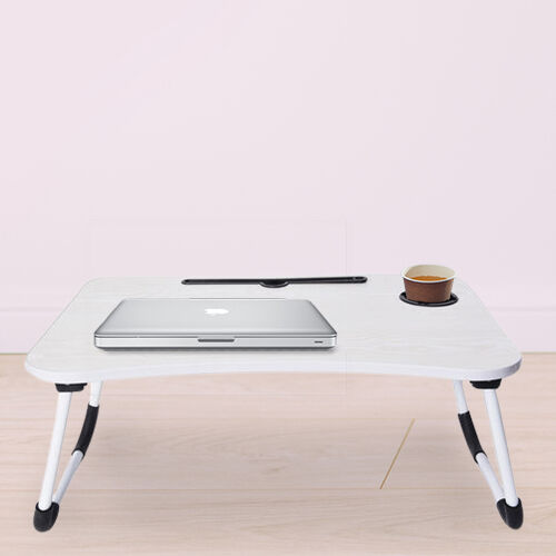 Multi-function Folding Table with a Cup Holder in Cream White