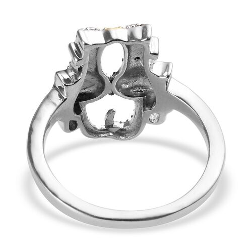 Black and White Diamond (Rnd) Cat Ring in Platinum Overlay Sterling Silver with Black and Yellow Gold Plating