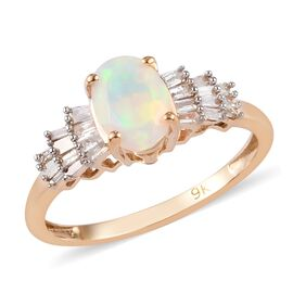 9K Yellow Gold Ethiopian Welo Opal and Diamond Ring