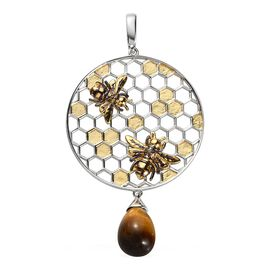 Sundays Child - Yellow Tiger Eye Honeycomb and Bee Pendant in Yellow Gold Overlay Sterling Silver 8.