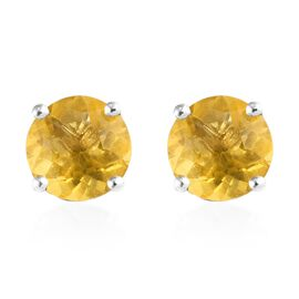 Yellow Fluorite (Rnd) Solitaire Stud Earrings (with Push Back) in Platinum Overlay Sterling Silver 2