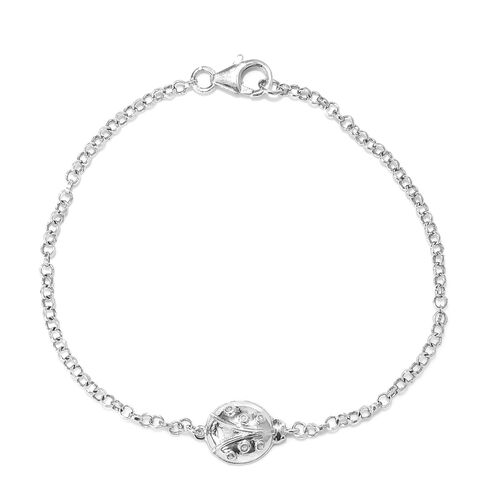 Platinum Overlay Sterling Silver Ladybird Bracelet (Size 7.5) with Lobster Clasp