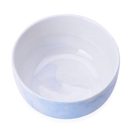 Set of 4 - Light Blue and White Colour Marble Pattern Ceramic Bowl (Size 10.5X5 Cm)