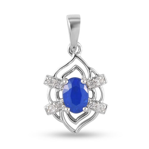 Tanzanian Blue Spinel and Natural Cambodian Zircon Pendant in Platinum Overlay Sterling Silver 1.15