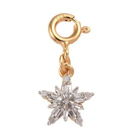 White Diamond (Rnd and Bgt) Snowflake Charm in 14K Gold Overlay Sterling Silver