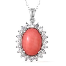Living Coral (Ovl 14x10 mm), Natural White Cambodian Zircon Pendant With Chain (Size 18) in Rhodium