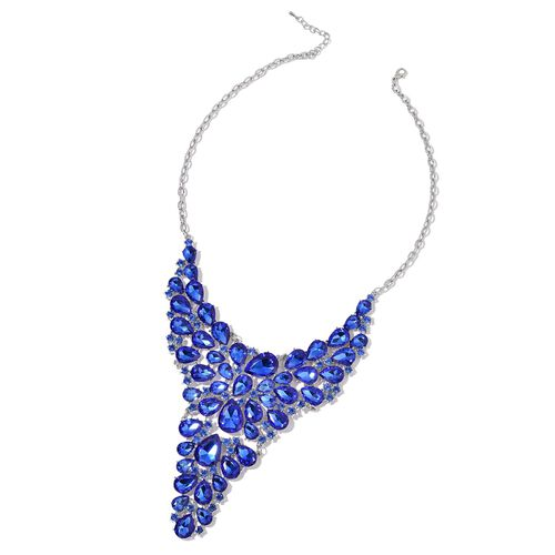 Simulated Blue Sapphire Waterfall Necklace (Size 18 with 1 inch Extender) in Silver Tone