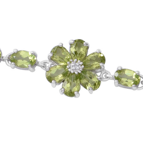Hebei Peridot (Ovl 6x4 mm), Natural Cambodian White Zircon Floral Bracelet (Size 7.75) in Rhodium Overlay Sterling Silver 11.600 Ct, Silver wt 7.00 Gms.