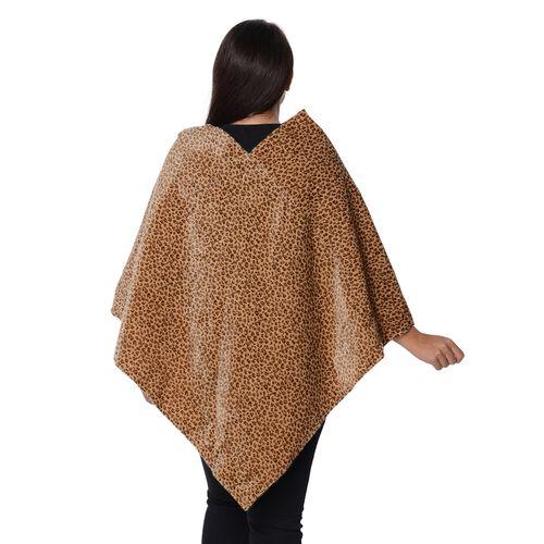 Leopard Pattern Winter Free Size Poncho (L-85 Cm) - Yellow Brown